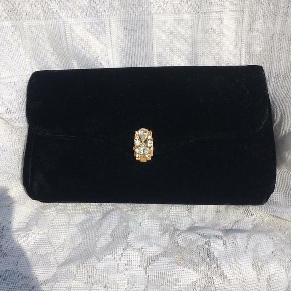 garay Handbags - Vintage Black Velvet & Rhinestone Clutch